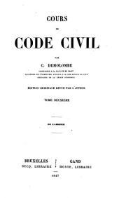 Cours de code civil: Volume2