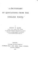 A Dictionary of Quotations from the English Poets PDF