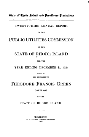 Annual Report of the Public Utilities Commission of the State of Rhode Island for the Year Ending     PDF