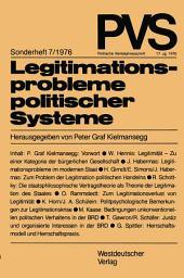 Legitimationsprobleme politischer Systeme: Tagung der Deutschen Vereinigung für Politische Wissenschaft in Duisburg, Herbst 1975