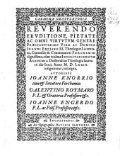 Carmina gratulatoria Reverendo eruditione, pietate ac omni virtutum genere praestantissimo viro ac domino Ioanni Ertlino ...