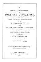 A Complete Dictionary of Poetical Quotations PDF