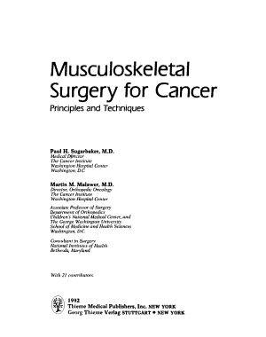 Musculoskeletal Surgery for Cancer