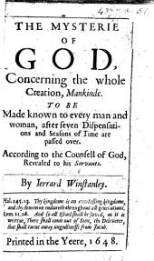The Mysterie of God Concerning the Whole Creation, Etc