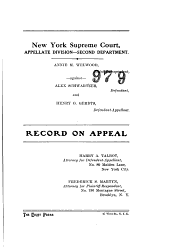 New York Supreme Court Record on Appeal
