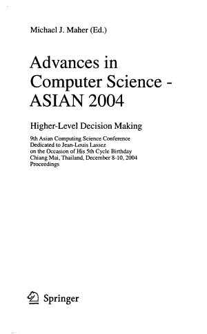 Advances in Computing Science  ASIAN     PDF