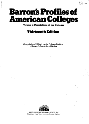 Barron s Profiles of American Colleges PDF