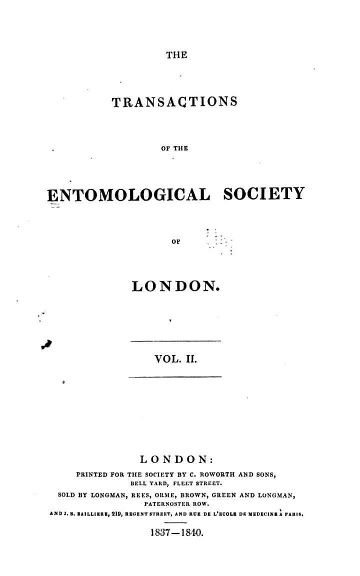 Transactions of the Royal Entomological Society of London