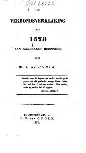 De verbondsverklaring van 1573 aan Nederland herinnerd