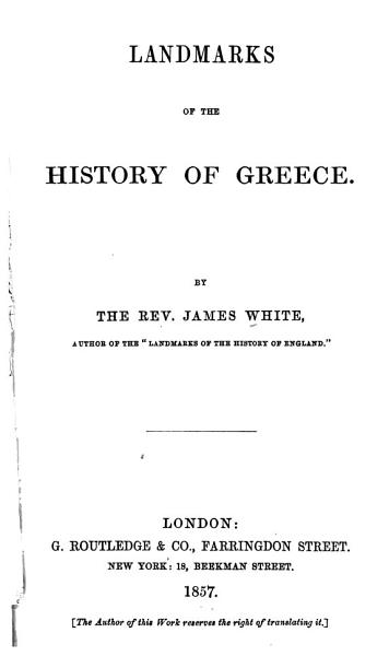 Download Landmarks of the History of Greece Book