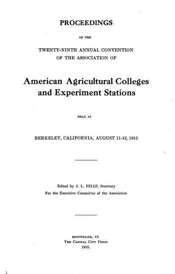 Proceedings of the     Annual Convention of the Association of American Agricultural Colleges and Experiment Stations PDF