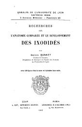 Recherches sur l'anatomie comparée et le développement des ixodidés