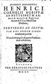 Appendix Apologetica ... Pertinens Ad Secvndam Eivs Opervm Lvgdvnieditorum partem