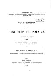 Constitution of the Kingdom of Prussia: Volume 5