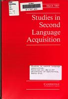 Studies in second language acquisition PDF