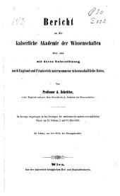Bericht an die Kaiserliche akademie der wissenschaften über eine mit deren unterstützung nach England und Frankreich unternommene wissenschaftliche reise ...