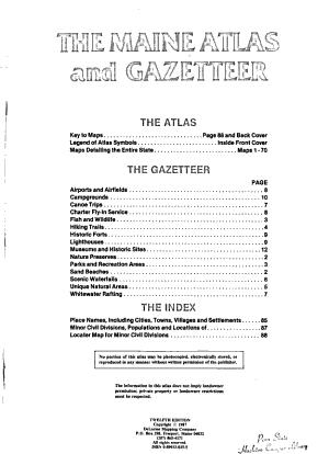 The Maine Atlas and Gazetteer PDF
