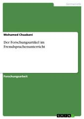 Der Forschungsartikel im Fremdsprachenunterricht
