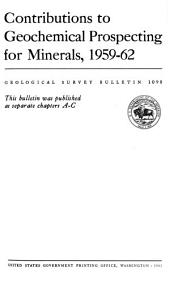 Geochemical Studies in the Coeur D'Alene District, Shoshone County, Idaho: Issue 1098