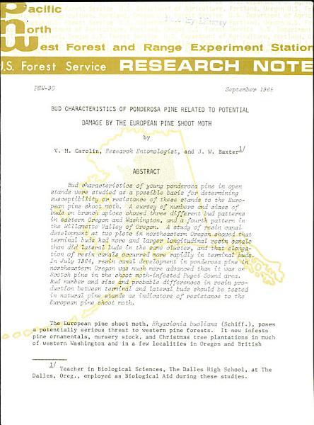 U S  Forest Service Research Note PNW PDF