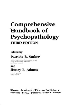 Comprehensive Handbook of Psychopathology PDF