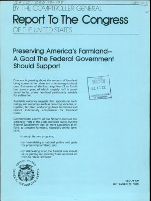 Preserving America s Farmland  a Goal the Federal Government Should Support PDF