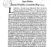 Declaration du roy, pour la recherche des faux nobles. Donnée à Versailles, le trentiéme may 1702