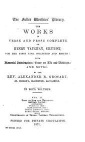 The Works in Verse and Prose Complete of Henry Vaughan, Silurist: Volume 32