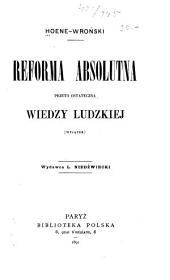 Reforma absolutna przeto ostateczna wiedzy ludzkiej: wyjatek