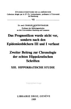 Das Prognostikon wurde nicht vor  sondern nach den Epidemienb  chern III und I verfasst PDF