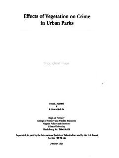Effects of Vegetation on Crime in Urban Parks