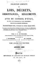 Collection complète des lois, décrets d'intérêe général, traités internationaux, arrêtés, circulaires, instructions, etc: Volume89