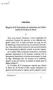 Cimetières. Rapport de la Commission du contentieux sur l'inhumation de l'évêque de Gand: Conclusions adoptées en séance du conseil communal de Gand du 27 déc. 1864