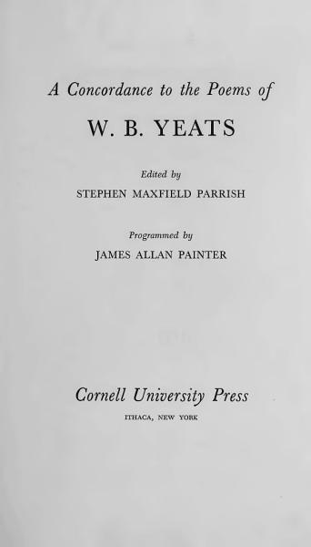 Download A Concordance to the Poems of W B  Yeats Book