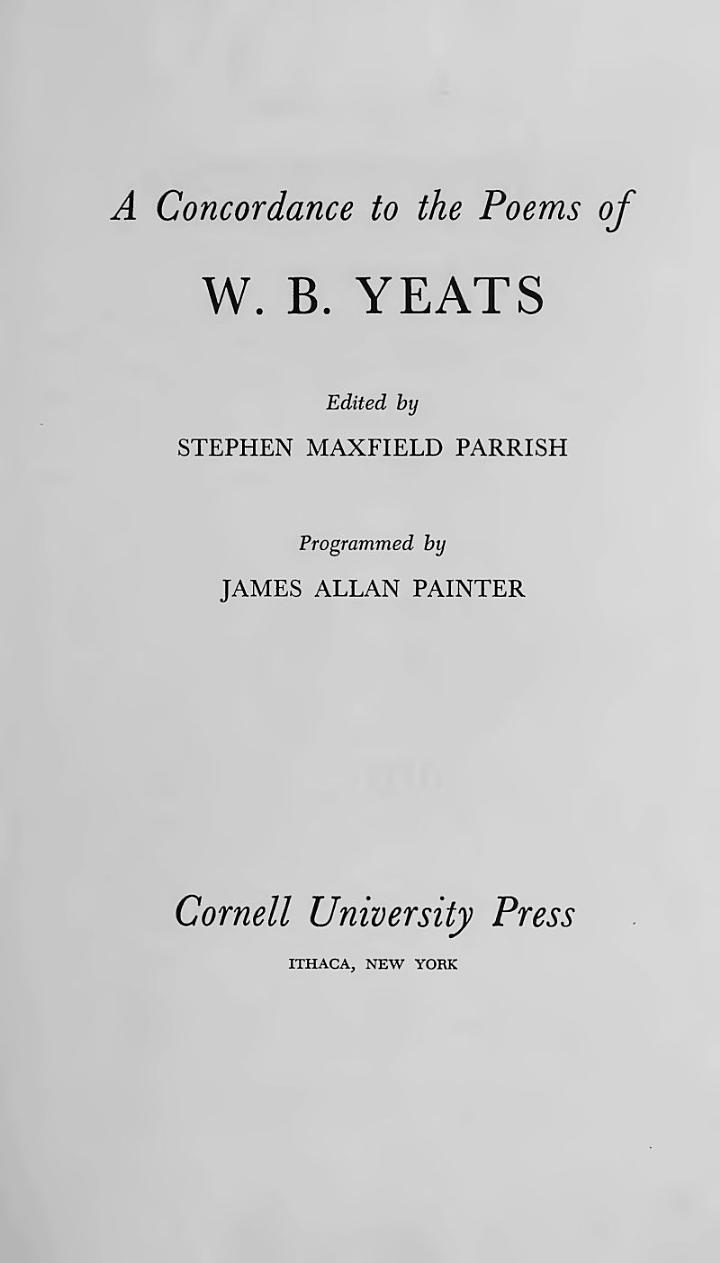 A Concordance to the Poems of W.B. Yeats