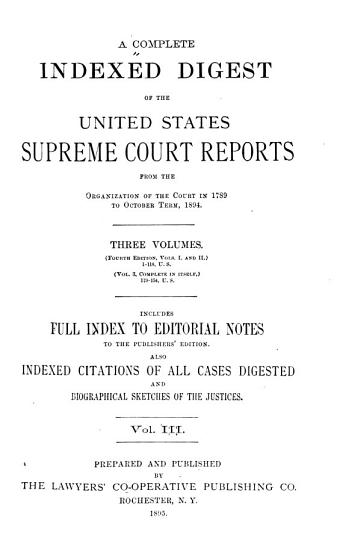 A Complete Indexed Digest of the United States Supreme Court Reports PDF