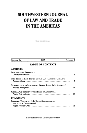 Southwestern Journal of Law and Trade in the Americas PDF
