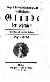 A. F. W. Sack's vertheidigter Glaube der Christen. Siebendtes (achtes) Stück