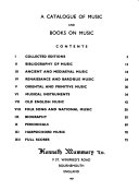 A Catalogue of Music and Books on Music PDF
