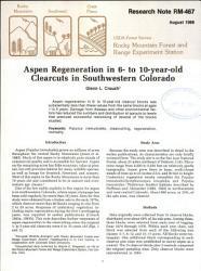 Aspen Regeneration In 6 To 10 Year Old Clearcuts In Southwestern Colorado Book PDF