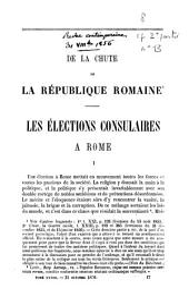 De la chute de la République romaine: les élections consulaires à Rome