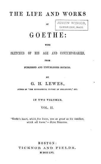 The Life and Works of Goethe PDF