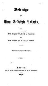 Beiträge zur ältern Geschichte Rostocks
