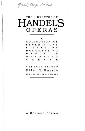 The Librettos of Handel s Operas  Almira  Nero  Florindo  Daphne  Rodrigo  Agrippina PDF