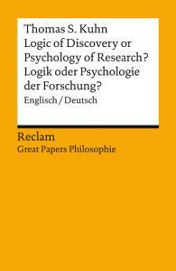 Logic of Discovery or Psychology of Research    Logik oder Psychologie der Forschung  Englisch Deutsch PDF