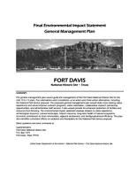 Fort Davis National Historic Site  General Management Plan PDF