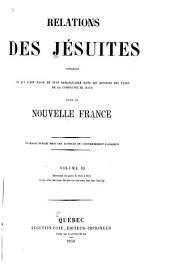 Relations des Jésuites contenant ce qui s'est passé de plus remarquable dans les missions des pères de la Compagnie de Jésus dans la Nouvelle-France: Volume3
