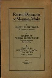Recent Discussion of Mormon Affairs