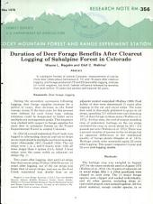 Duration of deer forage benefits after clearcut logging of subalpine forest in Colorado