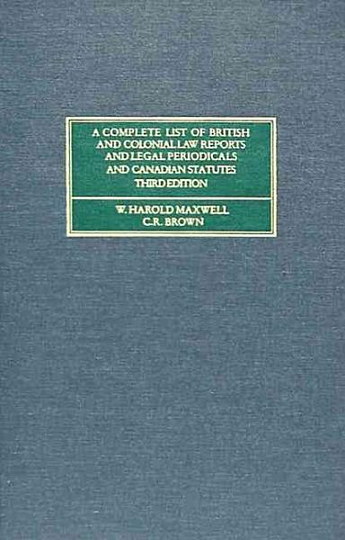 Download A Complete List of British and Colonial Law Reports and Legal Periodicals Book